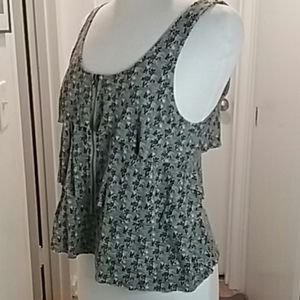 UO Pins and Needles Zip Front Layered Tank Size S
